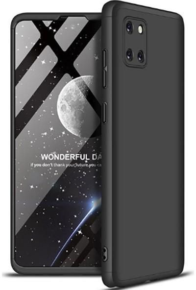 Case 4U Samsung Galaxy Note 10 Lite Kılıf 360 Derece Korumalı Tam Kapatan Koruyucu Sert Silikon Ays Arka Kapak Siyah