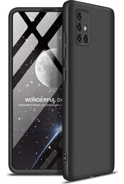 Case 4U Samsung Galaxy A71 Kılıf 360 Derece Korumalı Tam Kapatan Koruyucu Sert Silikon Ays Arka Kapak Siyah