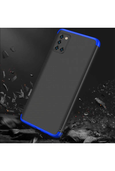 Case 4U Samsung Galaxy A51 Kılıf 360 Derece Korumalı Tam Kapatan Koruyucu Sert Silikon Ays Arka Kapak Siyah