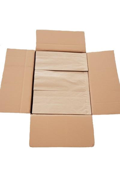 Ecosys Ambalaj 17X34X7 cm 1500 Ad/koli Kraft Kağıt Poşet Kahverengi Çizgili Baskısız Kese Kağıdı