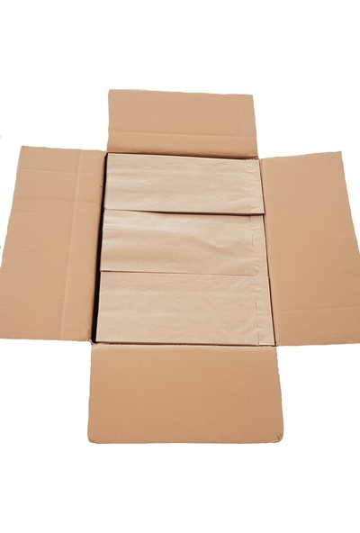 Ecosys Ambalaj 14X32X10 cm 1500 Ad/koli Kraft Kağıt Poşet Kahverengi Çizgili Baskısız Kese Kağıdı