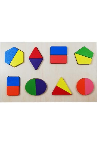 Türk Toys Ahşap 3 in 1 Alfabe-Sayılar-Geometri Puzzle