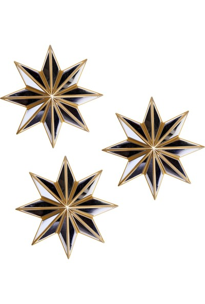 La Casa Art 3'lü Yıldız Ayna Duvar Aksesuarı Altın