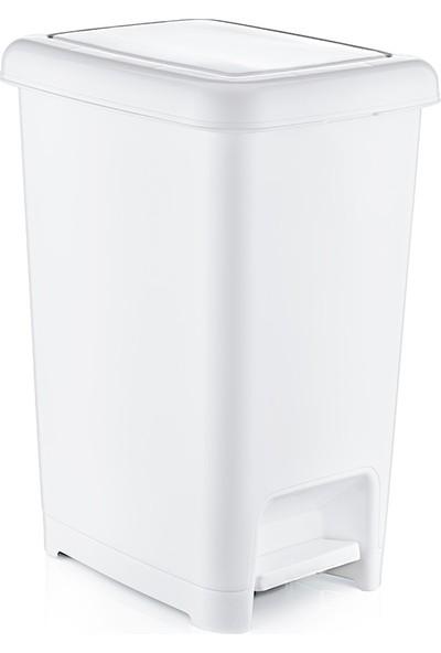 Dünya Plastik 10 lt Slim Pedallı Çöp Kovası Beyaz Renk