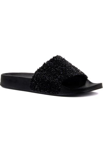 Moxee Siyah Boncuk İşlemeli Kadın Terlik