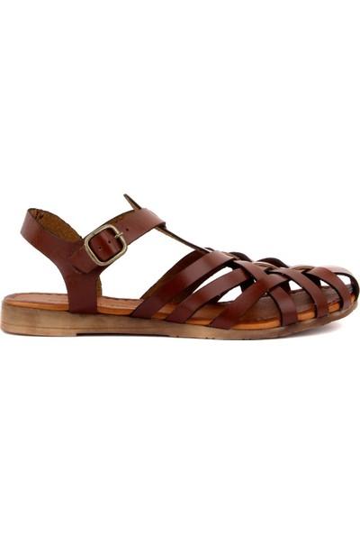 Sail Laker's Kahverengi Deri Tokalı Kadın Bodrum Sandalet