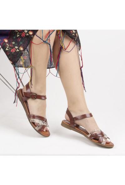 Sail Laker's Kahverengi Deri Tokalı Kadın Sandalet