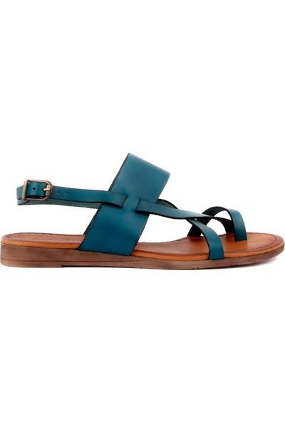 Sail Laker's Petrol Mavisi Deri Tokalı Kadın Sandalet