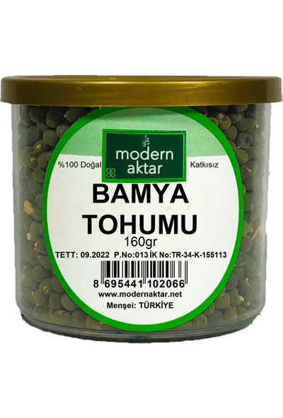 Modern Aktar Doğal Bamya Tohumu 160 gr