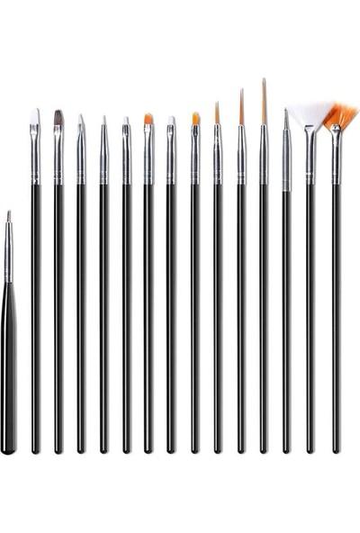 15'li Protez Tırnak Fırçası Gel ve Akrilik Profesyonel Tırnak Süsleme Fırçası Siyah