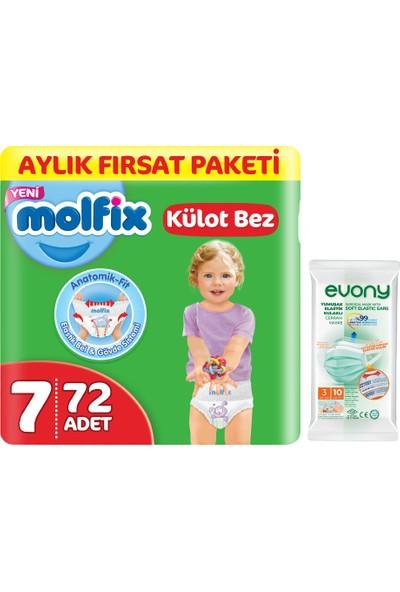 Molfix Külot Bez 7 Beden Xx Large Aylık Fırsat Paketi 72'li + Evony Maske 10'lu