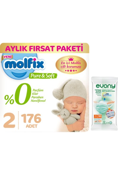Molfix Pure&Soft 2 Beden Mini Aylık Fırsat Paketi 176 Adet + Evony Maske 10'lu