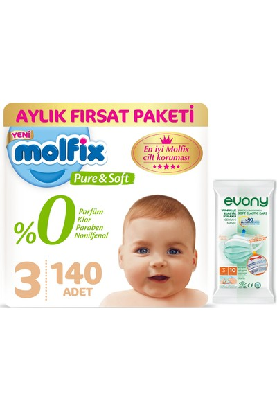 Molfix Pure&soft 3 Beden Midi Aylık Fırsat Paketi 140'LI + Evony Maske 10'lu