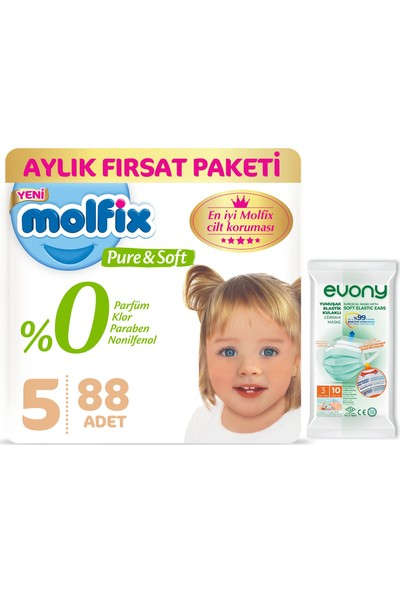 Molfix Pure&Soft 5 Beden Junior Bebek Bezi Aylık Fırsat Paketi 88 Adet + Evony Maske 10'lu