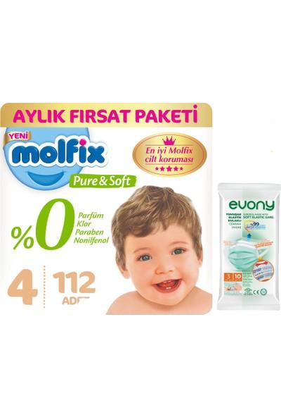 Molfix Pure&soft 4 Beden Maxi Aylık Fırsat Paketi 112'LI + Evony Maske 10'lu