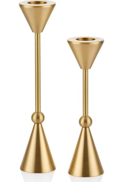The Mia Brass Pirinç Şamdan 2'li Set
