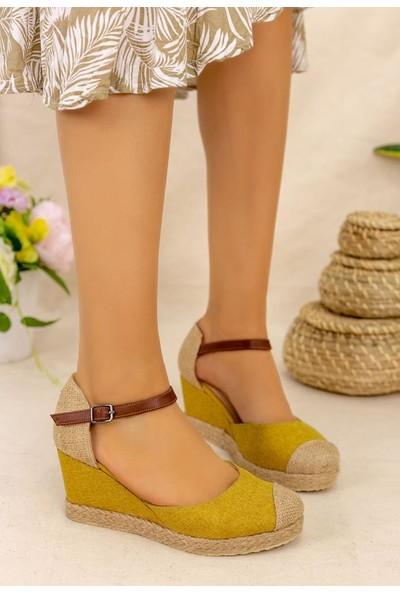 Erbilden Neyma Hardal Keten Dolgu Topuk Sandalet