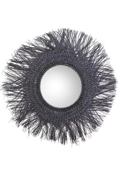 Kanca Ev Hasır Duvar Aynası Siyah 75 cm