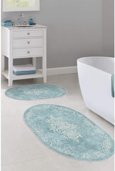 Colizon 50x80 - 40x50 Dijital Banyo Halısı Deri Tabanlı Oval Klozet Takımı TYLOB-2089-MAVI-K