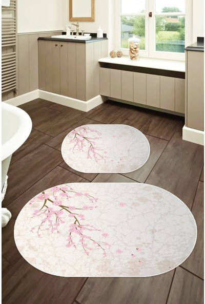 Colizon 50x80 - 40x50 Dijital Banyo Halısı Oval Klozet Takımı 2'li Paspas Seti TYKOB-2260