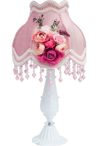 Nettenevime Kadife Kaplı Çiçek Dekorlu Abajur