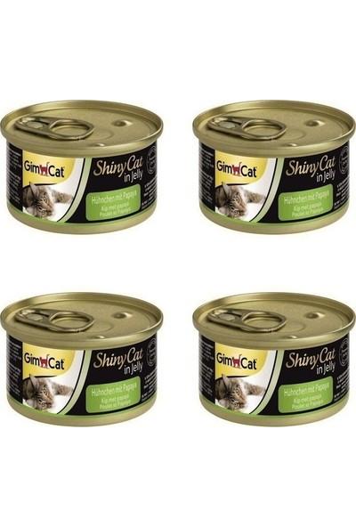 Gimcat Shinycat Konserve Kedi Maması -Tavuklu Papayalı 70GR x 4 Adet