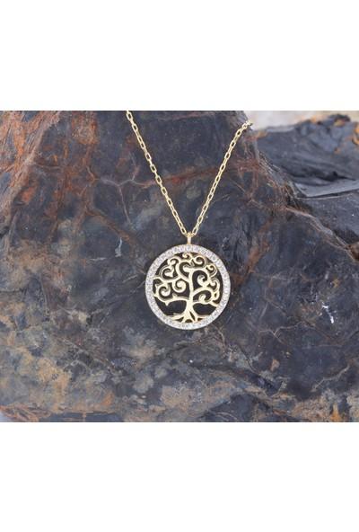 Leta Takı 18 Yayar Altın Kaplama Swarovaki Pırlanta Taşlı Gümüş Kolye
