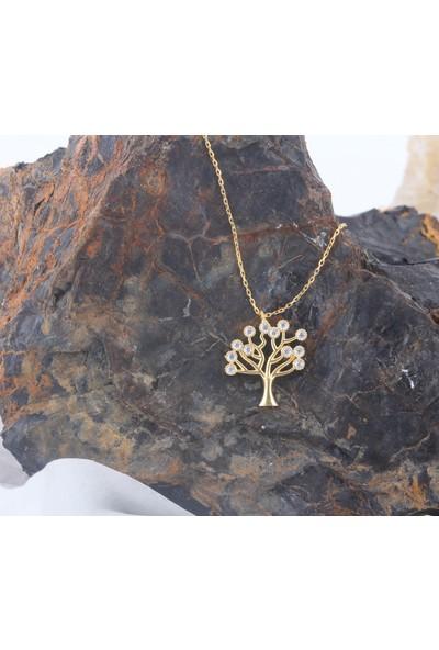 Leta Takı 18 Ayar Altın Kaplama Swarovski Pırlanta Taşlı Hayat Ağacı Gümüş Kolye