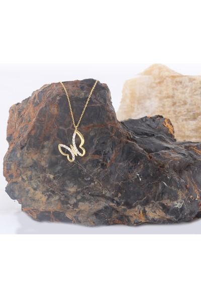 Leta Takı 18 Ayar Altın Kaplama Swarovski Pırlanta Taşlı Gümüş Kolye