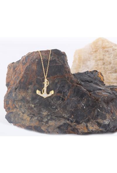 Leta Takı 18 Ayar Altın Kaplama Swarovski Pırlanta Deniz Çapası Gümüş Kolye
