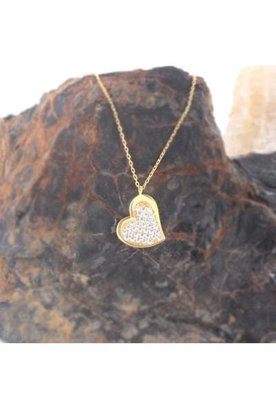 Leta Takı 18 Ayar Altın Kaplama Swarovski Pırlanta Taşlı Kalp Gümüş Kolye