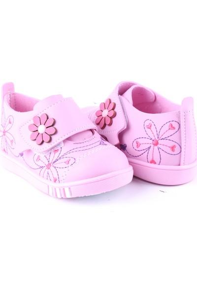 Akıllı Şirin İlk Adım Kız Çocuk Nakış İşlemi Mevsimlik Ayakkabı Pembe