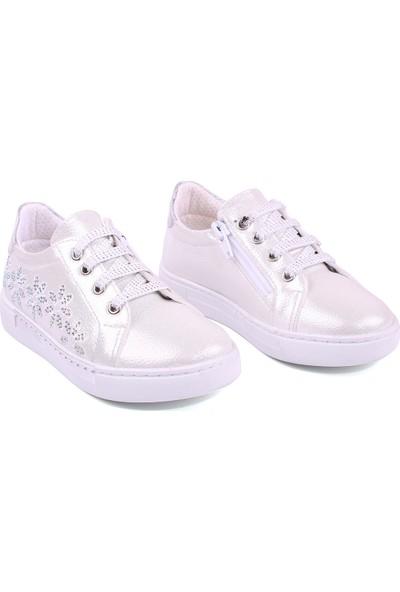 Akıllı Şirin Taş İşlemi Bağcıklı Fermuarlı Kız Çocuk Ayakkabısı