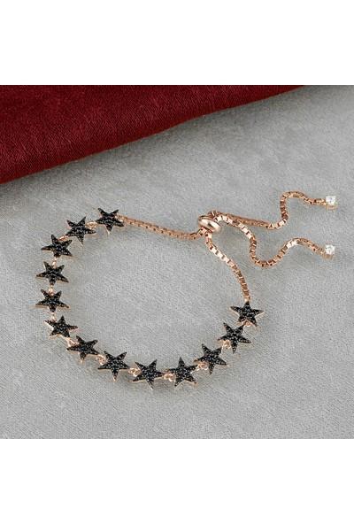 Else Silver Siyah Taşlı Kuyruklu Yıldız Asansörlü Gümüş Bileklik