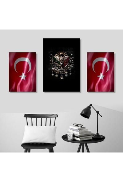 Emay Osmanlı Tuğrası Türk Bayrağı 3 Parça Mdf Tablo