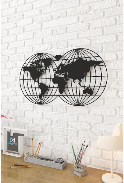 Dekomotif Dünya Haritası Oval Metal Tablo Gezegen Tema Metal Dekor