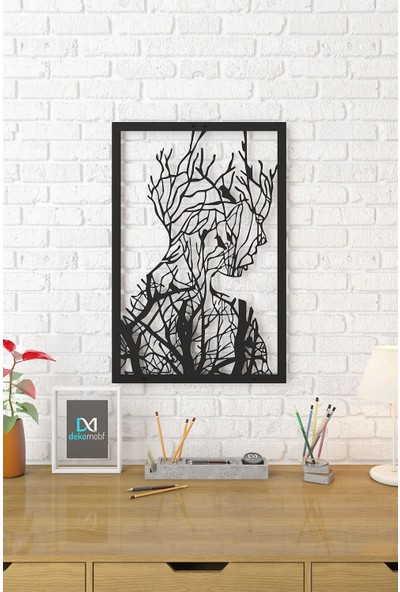 Dekomotif Beauty Tree Çerçeveli Metal Tablo Sanat Temalı Metal Dekor