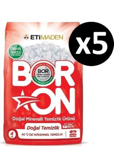 Boron Doğal Mineralli Temizlik Ürünü Doğal Temizlik Beyazlar 4 kg x 5 Adet (130 Yıkama)