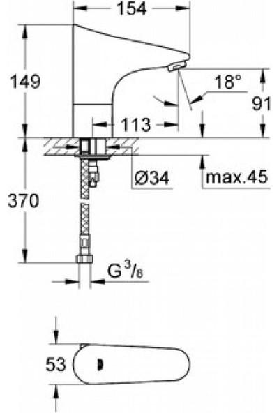 Grohe Europlus E Fotoselli Lavabo Bataryası Pilli 36232001