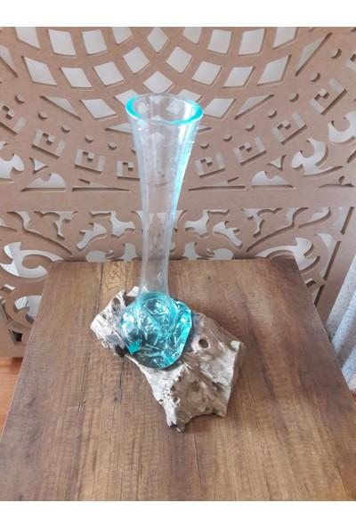 Mihenk Teak Üfleme Cam Tasarım Vazo