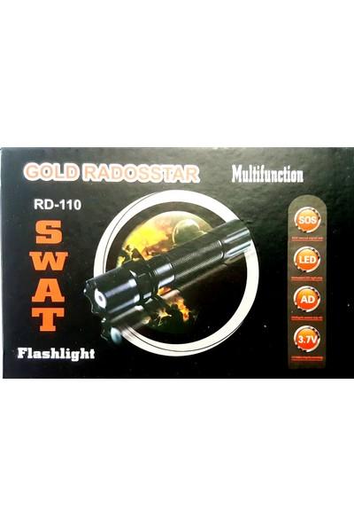 Swat Şarjlı El Feneri Swat KM-110 Polis Feneri Bekçi Feneri Güvenlikçi Feneri