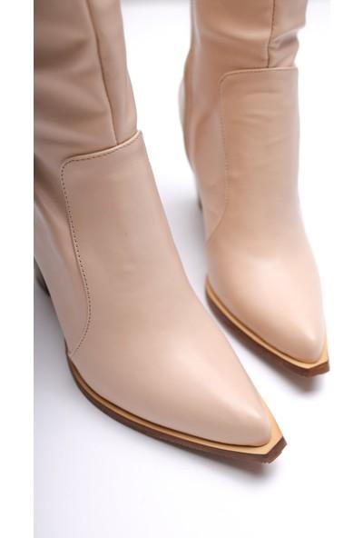 Usludan Vivian Nude Cilt Körüklü Kalın Topuklu Çizme US10127