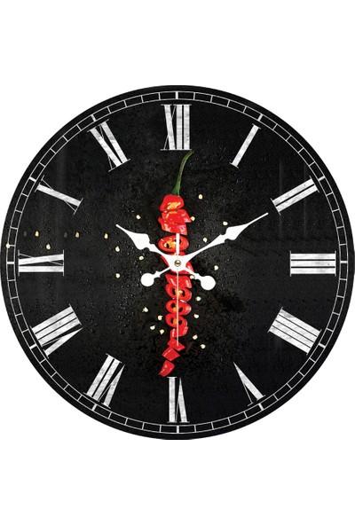 Platin Saat 35 cm Ahşap Mdf Mutfak Duvar Saati