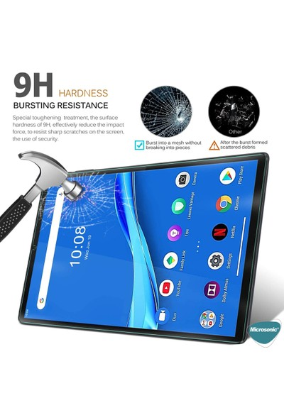 "Microsonic Lenovo Tab M10 Plus TB-X606F 10.3"" (ZA5T0215TR) Tempered Glass Ekran Koruyucu Şeffaf"