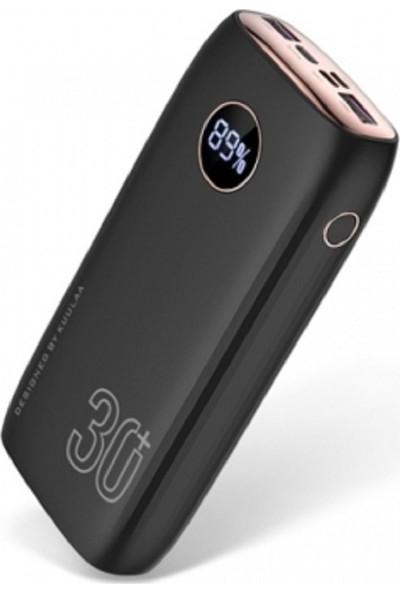 Kuulaa 30000 mAh Dijital Göstergeli Hızlı Şarj Qc 3.0 Type-C Powerbank