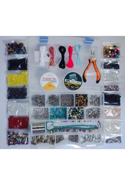 Platin Hediyelik Karışık Takı Yapım Malzemesi Başlangıç Seti 30 Çeşit Yaklaşık