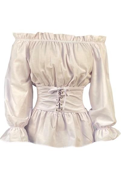 Lefital Kadın Beyaz Açık Omuz Korseli Pamuklu Bluz L