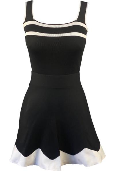 Lefital Kadın Siyah Beyaz Kalın Askılı Triko Bluz Standart