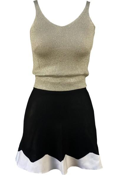 Lefital Kadın Haki Sim Baskılı Kalın Askılı Triko Bluz Standart