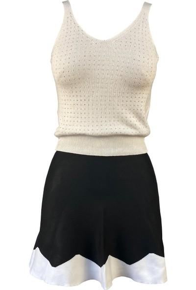 Lefital Kadın Beyaz Taşlı Kalın Askılı Triko Bluz Standart